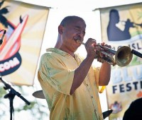 """Junior """"Volcano"""" Choy plays trumpet during the first annual Big Island Jazz and Blues Festival on June 2, at the Mauna Kea Beach Hotel. (PHOTO BY ANNA PACHECO