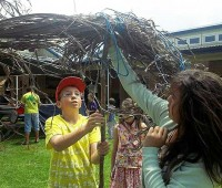 Students work together to build a shelter at the Parker School at the elementary school. (PHOTO COURTESY OF PARKER FOR NHN)